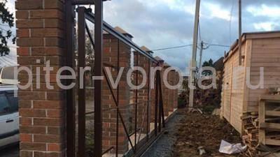 Уличные откатные ворота в Елизаветинке