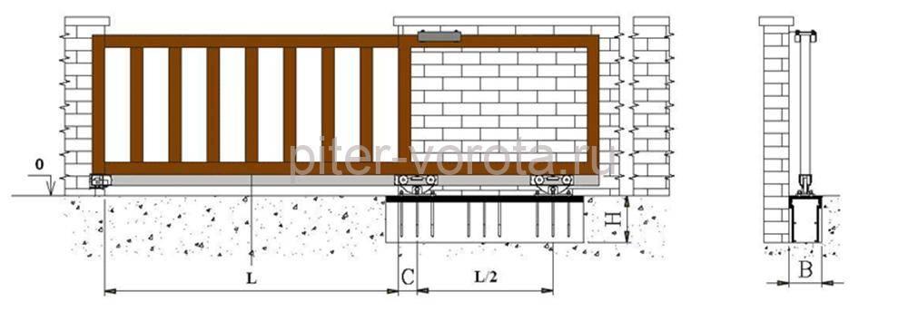 Схема установки раздвижной конструкции