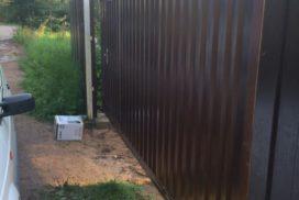 Уличные откатные ворота в д. Озерки, фото 6